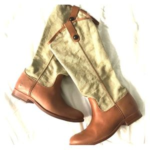 Frye canvas and leather Melissa boots, 7